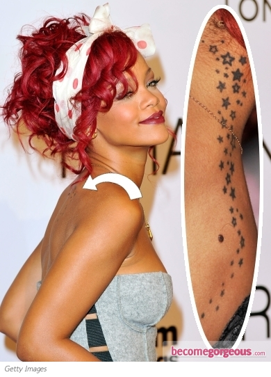 rihanna tattoo shoulder. Rihanna Neck Stars Tattoo