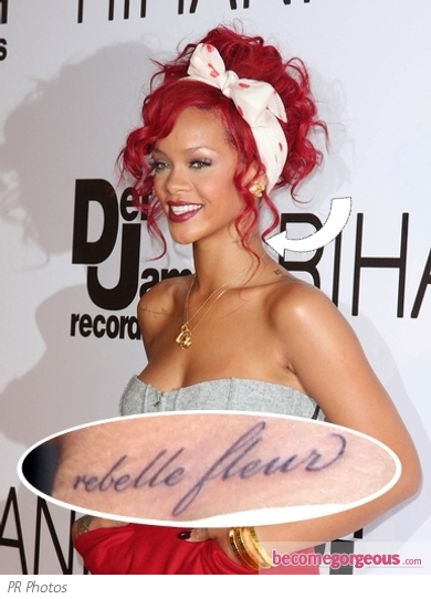 rihanna tattoos neck. Rihanna Rebelle Fleur Neck