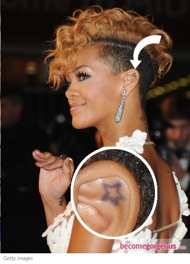 Rihanna added yet another tattoo to her ever expanding body art collection. This time, she picked a rather large tattoo design featuring Egyptian goddess Isis, placed on her chest, under her bosoms.