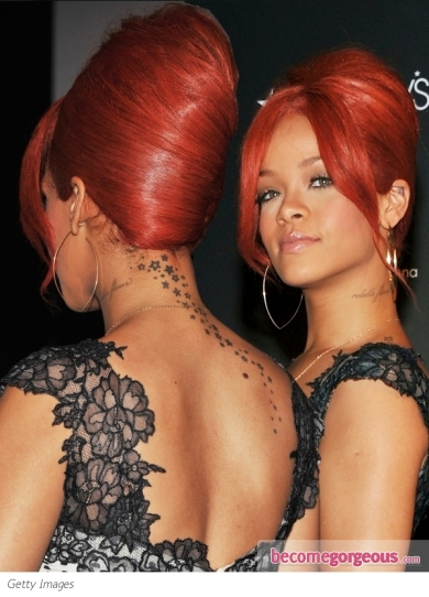 rihanna red hairstyles 2011. Rihanna Updo Hairstyle 2011