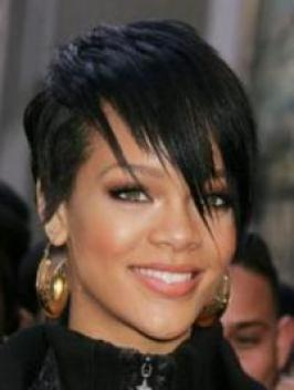 Rihanna with Short Razored Haircut