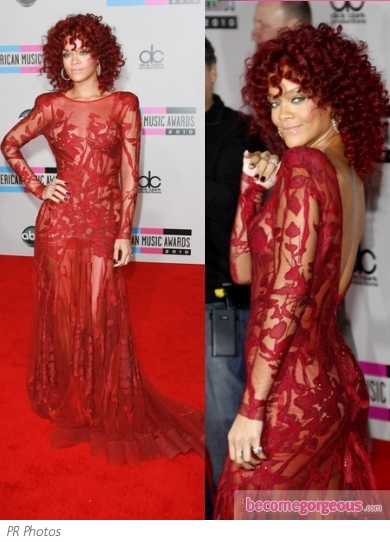 Rihanna in Elie Saab Red Lace Gown
