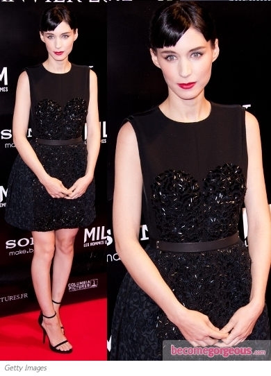 Rooney Mara in Louis Vuitton Beaded Cocktail Dress