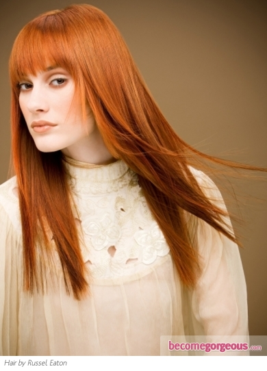 Glam Long Ginger Hair Style