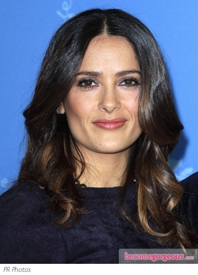 Salma Hayek Glossy Waves Hairstyle