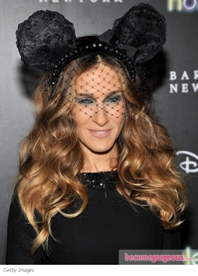 Sarah Jessica Parker's Wavy Hairstyle with Minnie Mouse Ears