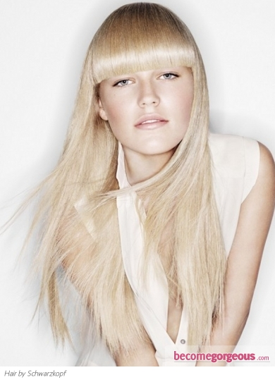 Super-Long Hair with Blunt Bangs