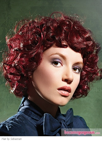 Medium Red Curly Hair Style
