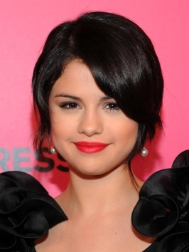 Selena Gomez Smooth Updo Hairstyle