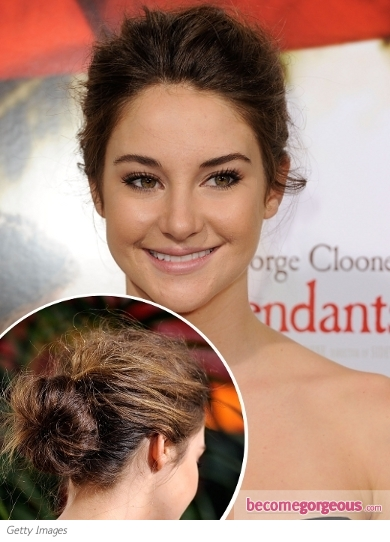 Shailene Woodley Messy Twisted Updo