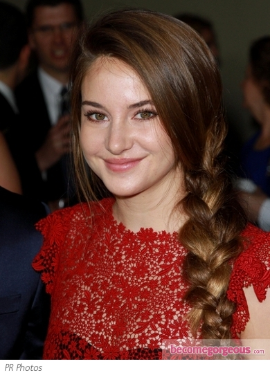 Shailene Woodley Side Braid Ponytail