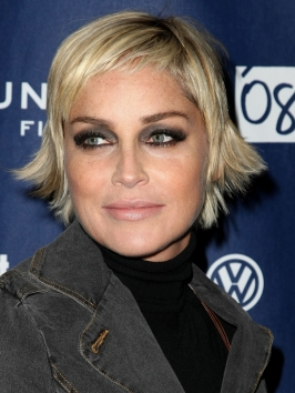 Sharon Stone's Short Layered Haircut