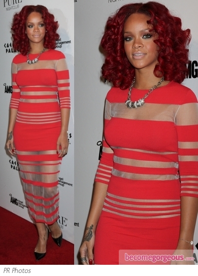 Rihanna in Louise Goldin Sheer Striped Dress