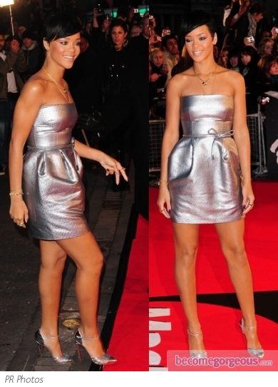 Rihanna in Giambattista Valli Silver Mini Dress
