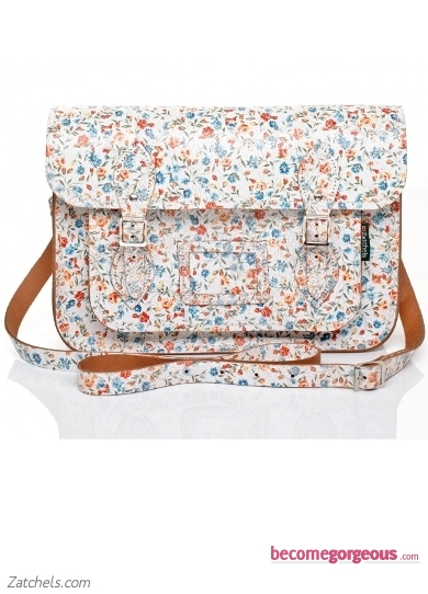 White Satchel with Small Floral Pattern