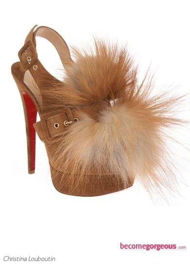 Christina Louboutin Splash Fur Sandal