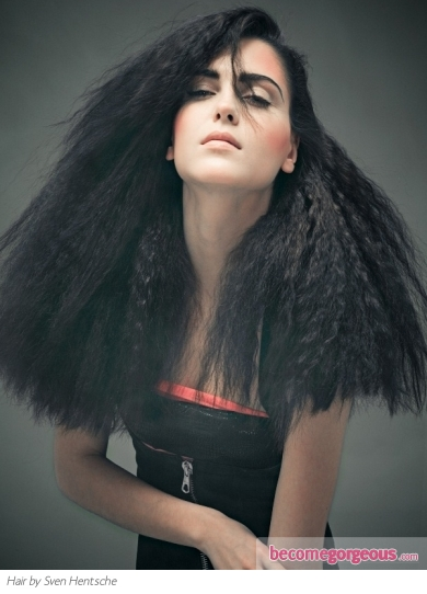 Voluminous Crimped Hairstyle