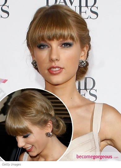 Taylor Swift Rolled Chignon with Bangs