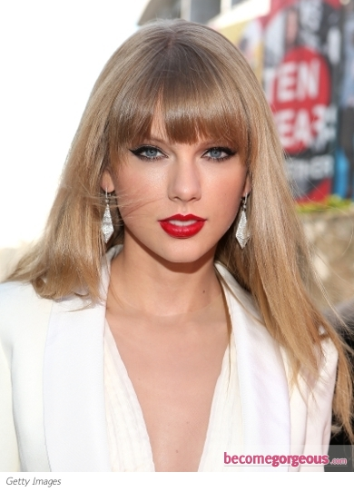 Taylor Swift Smooth Hairstyle with Bangs