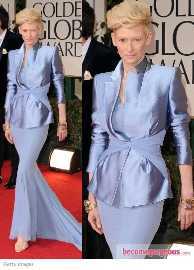 Tilda Swinton in Haider Ackermann at 2012 Golden Globes