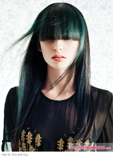 Black Hair and Green Highlights