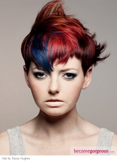 Fabulous Red and Blue Hair Style
