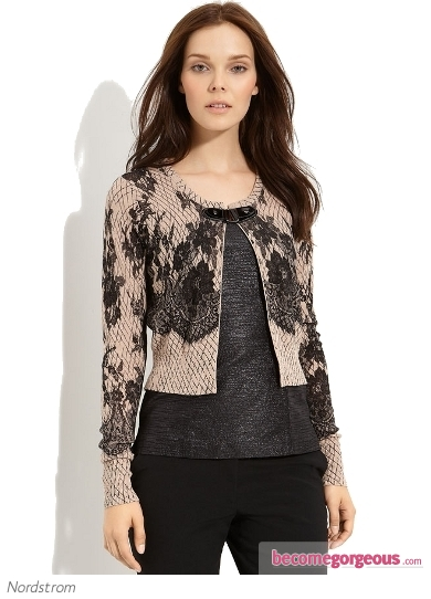 Tracy Reese Lace Print Cardigan