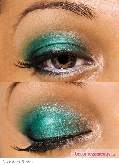Turquoise Green Eye Makeup Look