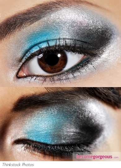 Metallic Silver and Turquoise Eye Makeup
