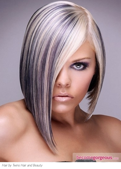 Platinum Blonde Hair with Purple Highlights