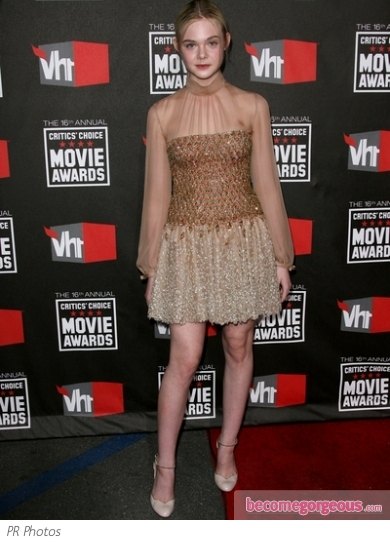 Elle Fanning in Valentino Gold Embroidered Dress