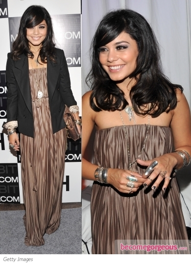 Vanessa Hudgens in Brown Pleated Maxi Dress