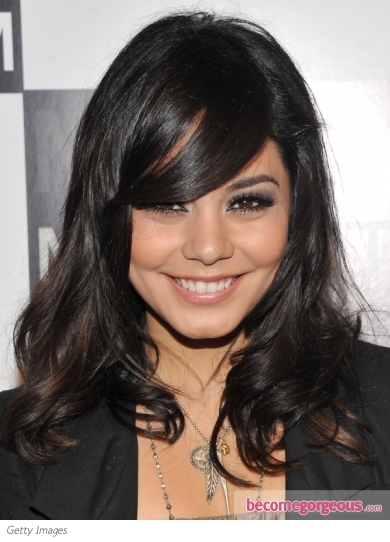 Vanessa Hudgens Wavy Hair with Side Bangs