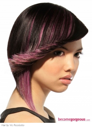 Medium Black and Purple Hair Style