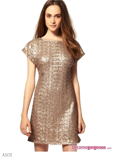 Warehouse Sequin Tee Shirt Dress