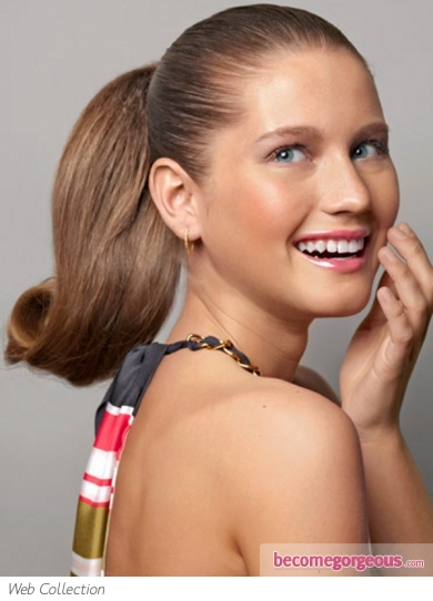 Super-Sleek Glossy Ponytail Hairstyle