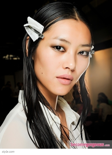 Wet Look Hair at Alexander Wang