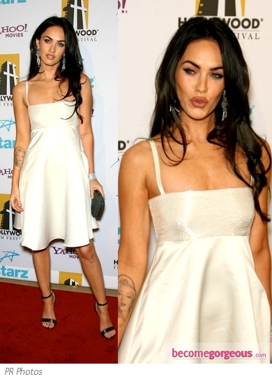 Megan Fox in White Satin Dress