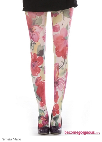 Pamela Mann Wild Rose Print Tights