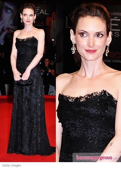 Winona Ryder in Dolce & Gabbana Black Lace Gown
