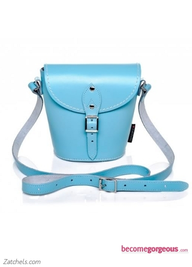 Light Blue Leather Barrel Bag
