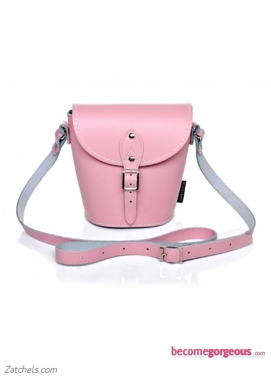 Pink Leather Barrel Bag