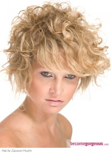Medium Messy Curly Hair Style