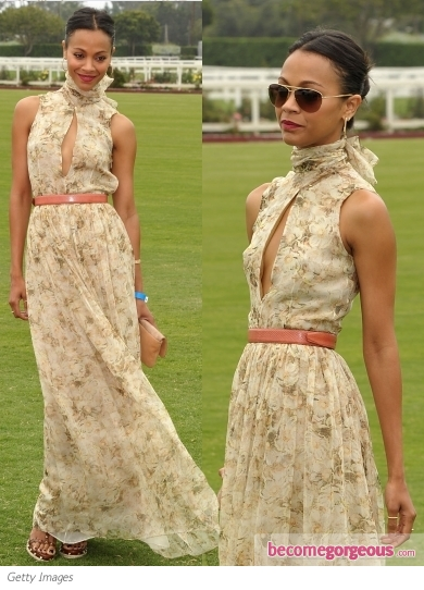 Zoe Saldana in Chloe Floral Print Maxi Dress