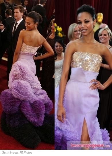 Zoe Saldana attended the The Trevor Project's 2012 Trevor Live! event wearing Lanvin's techno-net polyamide dress from the resort 2013 collection. She accessorized with Lanvin ankle-strap platform pumps and  box clutch.
