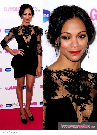 Zoe Saldana in Vionnet Black Lace Dress