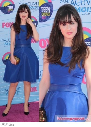 Zooey Deschanel in Monique Lhuillier Blue Silk Dress