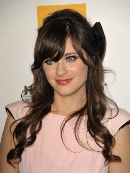 Zooey Deschanel Curly Half Updo with Bow