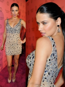 Adriana Lima in Sexy Beaded Dress