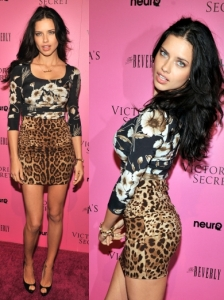 Adriana Lima in Dolce & Gabbana Print Dress